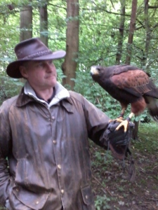 John - eye to eye with a Harris hawk.