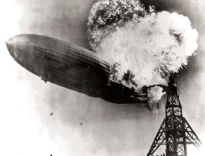 Hindenburg on fire in 1937.